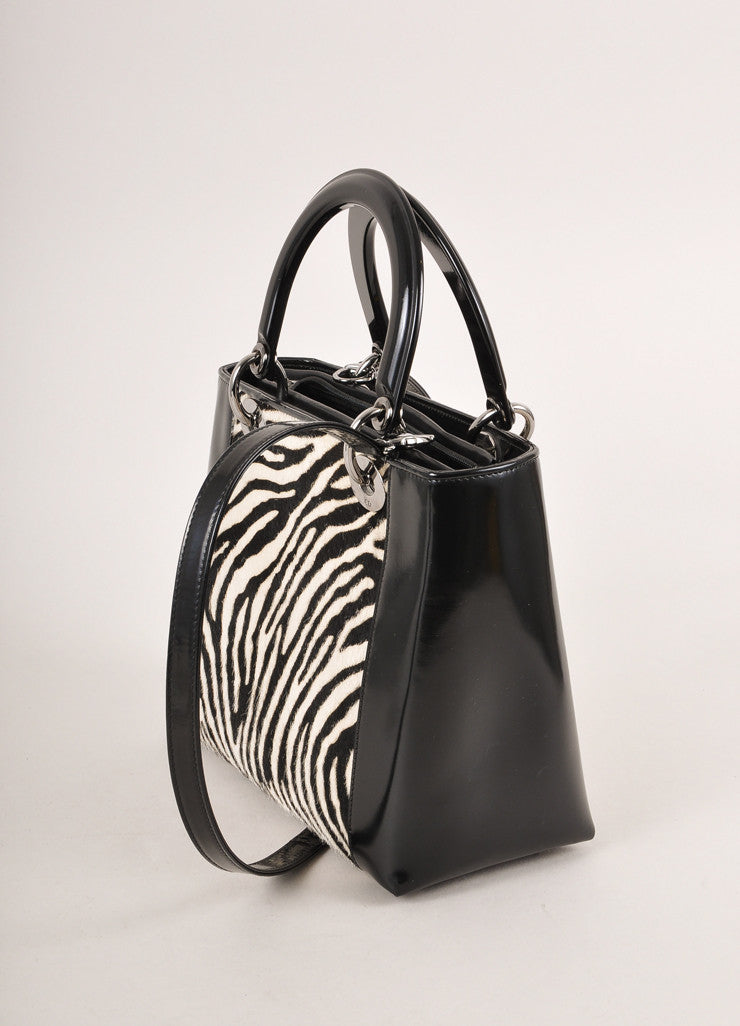"Christian Dior Black and White Zebra Pony Hair and Leather ""Lady"" Top Handle Tote Bag Sideview"