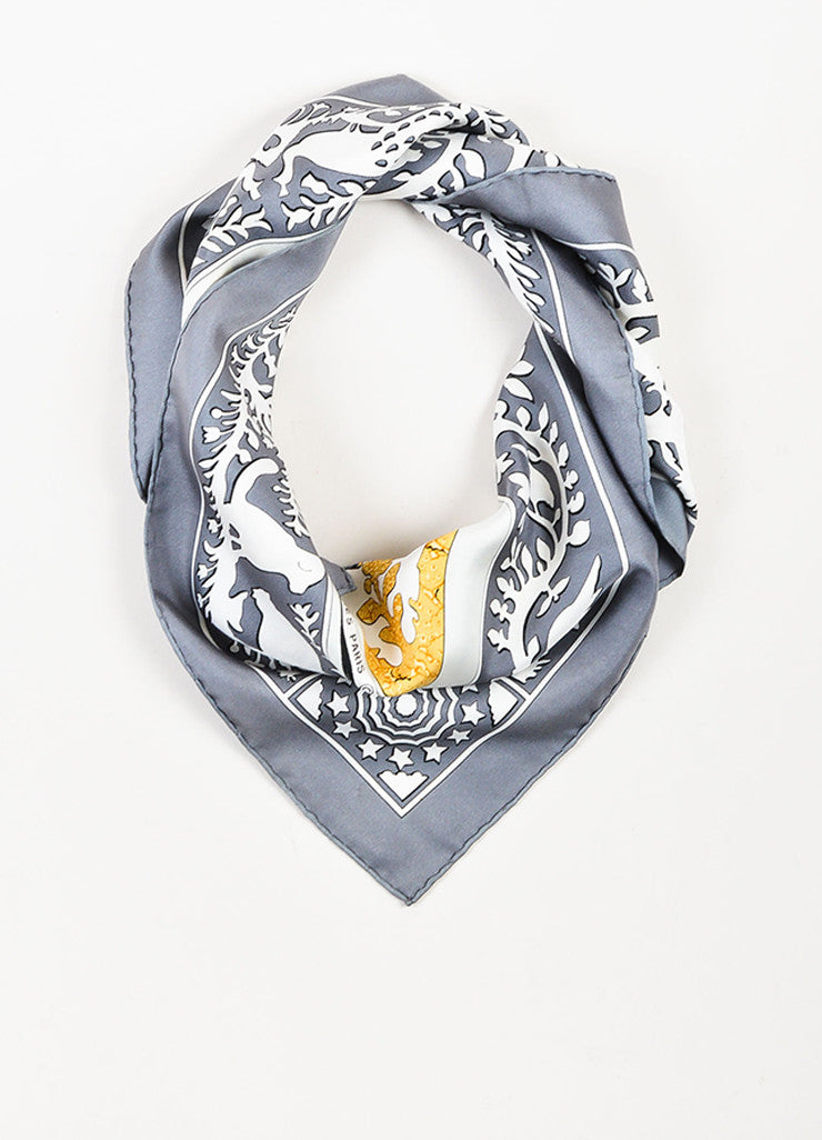 "Hermes Grey, Cream, and Yellow Silk Twill Figure Printed ""Early America"" 90cm Scarf frontview"
