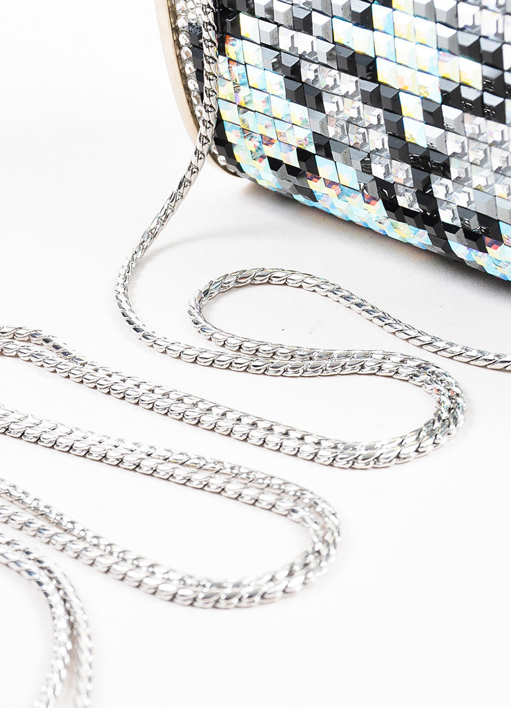 Judith Leiber Silver Toned, Black, and Iridescent Swarovski Crystal Minaudiere Bag Detail 2