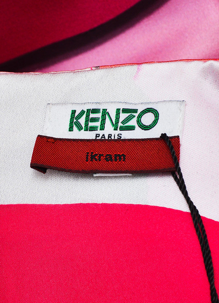 Kenzo Pink and Multicolor Satin Print Sleeveless Godet Shift Dress Brand