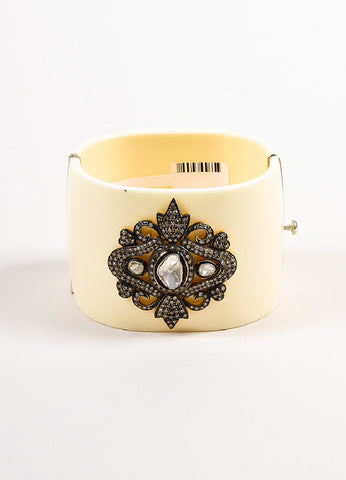 Cream Bacolite Diamond Embellished Wide Cuff Bracelet Frontview