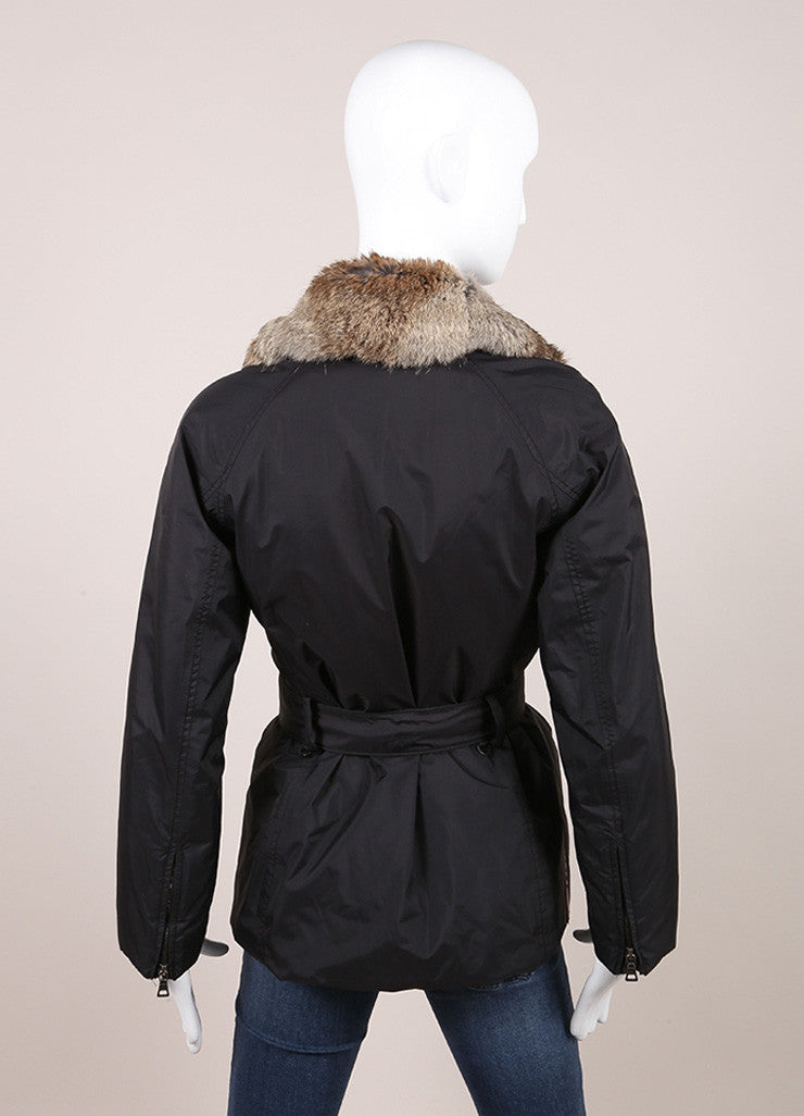 Prada Sport Black and Brown Fur Trimmed Collar Belted Zip Jacket Backview