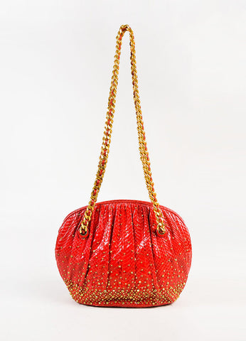 Judith Lieber Red Python Gold Tone Studded Pleated Shoulder Bag Front