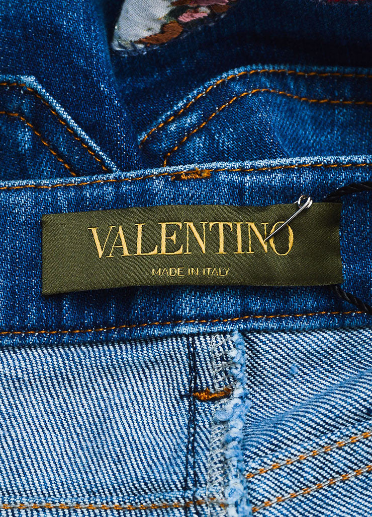 Blue Valentino Multicolor Butterfly Embroidered Denim Jeans Brand