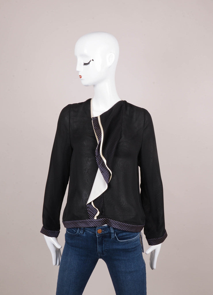 New With Tags Black and Ivory Silk Ruffle Blouse