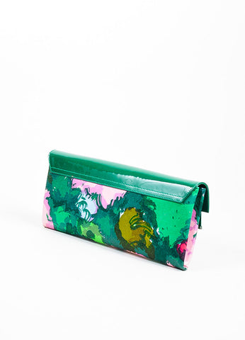 Green, Lilac, and Pink Balenciaga Patent Leather and Satin Flap Clutch Bag Backview