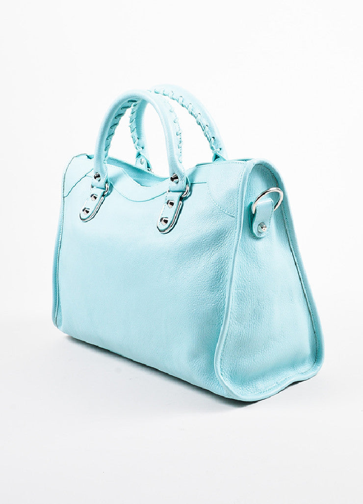"Balenciaga Baby Blue Chevre ""Classic Metallic Edge City"" Bag Sideview"