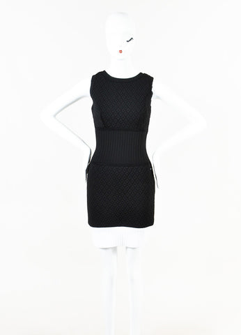 Chanel Black Neoprene Diamond Textured Scoop Neck Sleeveless Dress Front