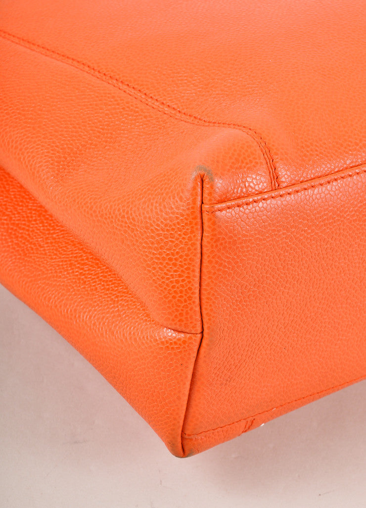 "Chanel Orange Caviar Leather ""CHANEL"" Stitched Tote Bag Detail"