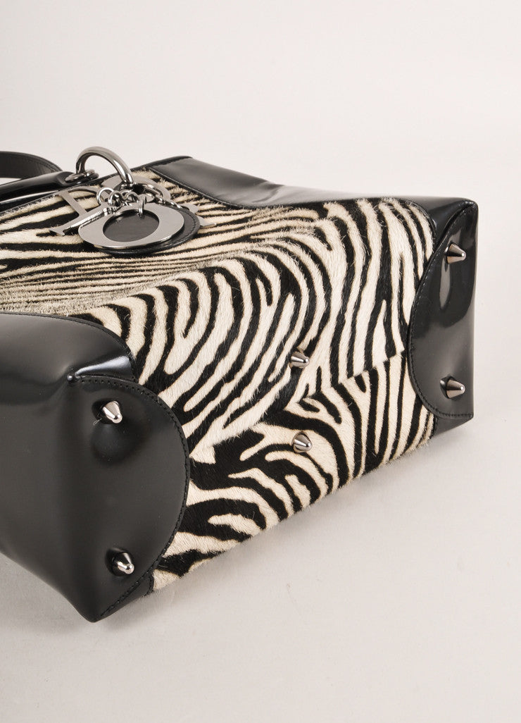 "Christian Dior Black and White Zebra Pony Hair and Leather ""Lady"" Top Handle Tote Bag Bottom View"