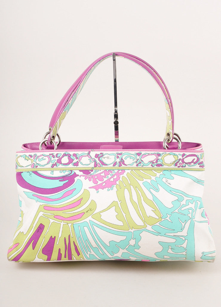 Emilio Pucci Cream and Multicolor Abstract Print Canvas and Leather Tote Bag Frontview