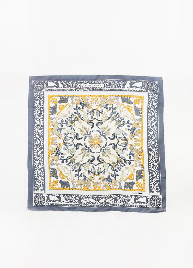 "Hermes Grey, Cream, and Yellow Silk Twill Figure Printed ""Early America"" 90cm Scarf Frontview 2"