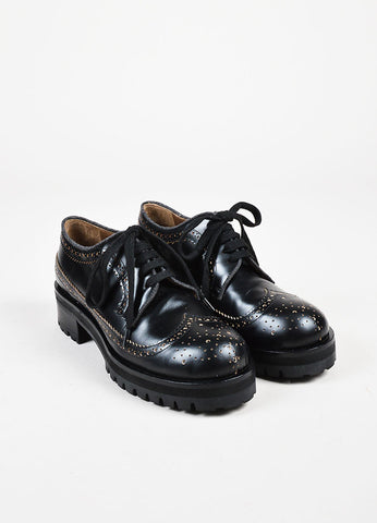 Marni Black Leather Treaded Outsole Chunky Heel Lace Up Brogues Frontview