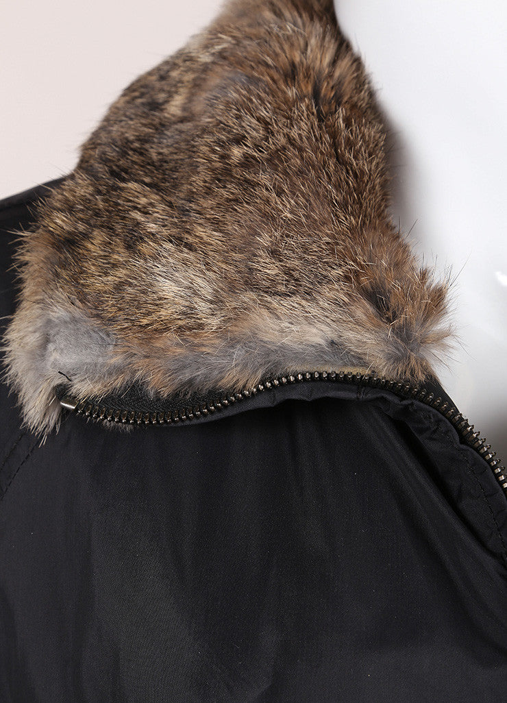 Prada Sport Black and Brown Fur Trimmed Collar Belted Zip Jacket Detail
