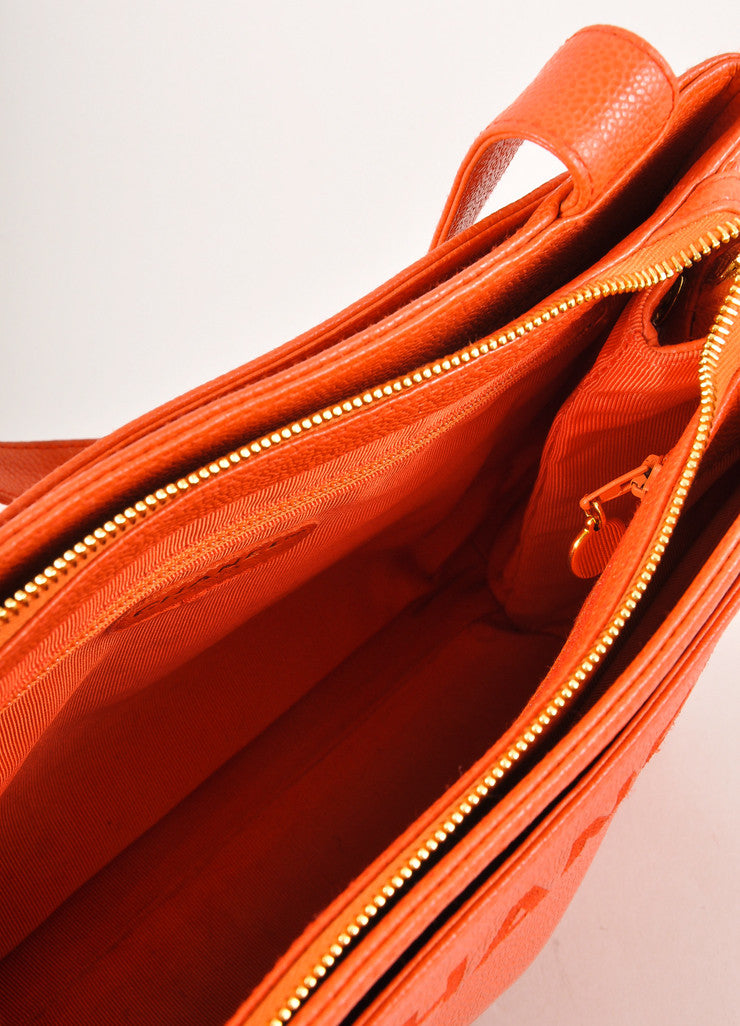 "Chanel Orange Caviar Leather ""CHANEL"" Stitched Tote Bag Interior"