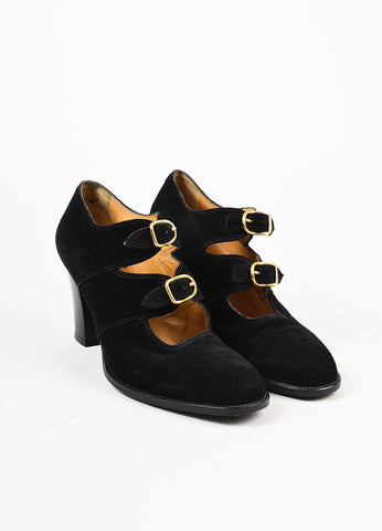 Hermes Black Suede Round Toe Buckle Chunky Heel Pumps Frontview