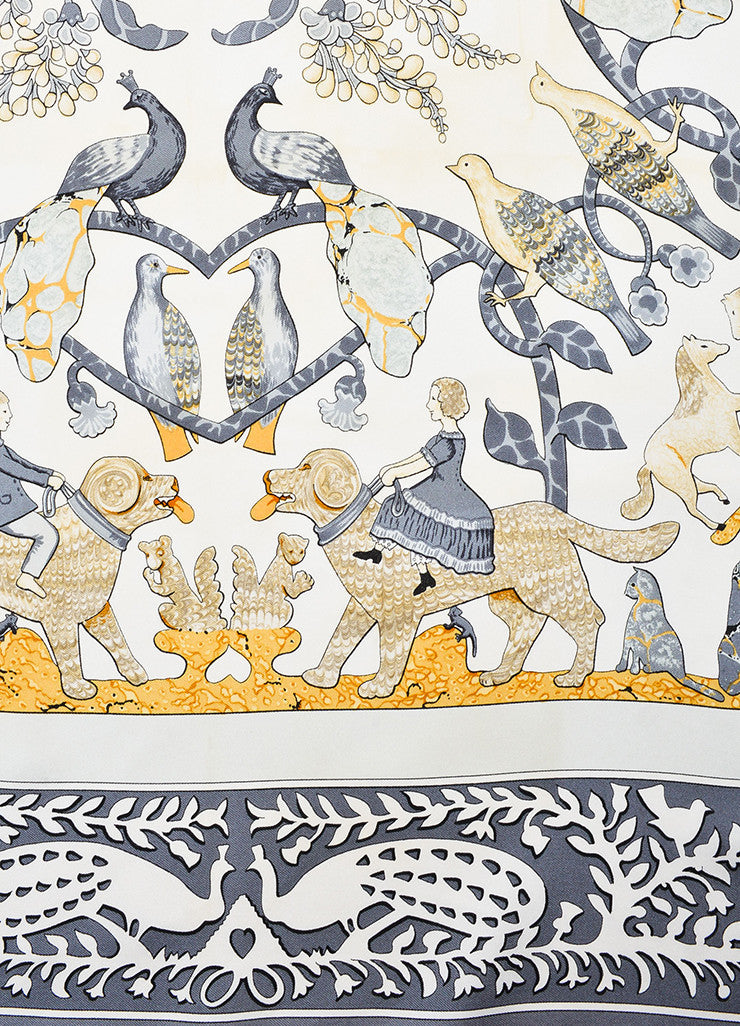 "Hermes Grey, Cream, and Yellow Silk Twill Figure Printed ""Early America"" 90cm Scarf Detail"