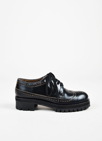 Marni Black Leather Treaded Outsole Chunky Heel Lace Up Brogues Sideview