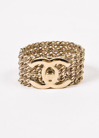 Chanel Gold Toned Multistrand 'CC' Turn Lock Bracelet Frontview