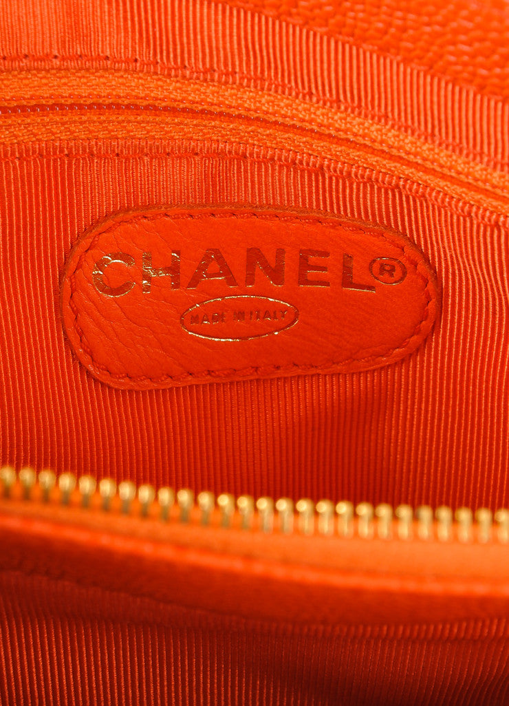 "Chanel Orange Caviar Leather ""CHANEL"" Stitched Tote Bag Brand"