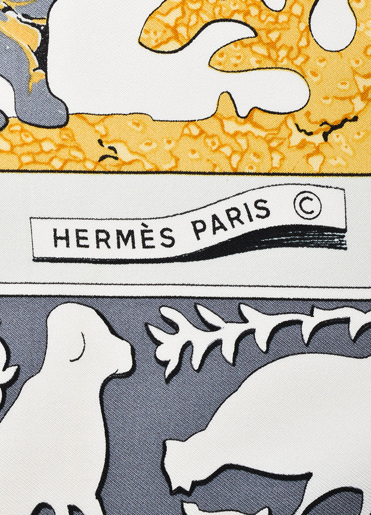 "Hermes Grey, Cream, and Yellow Silk Twill Figure Printed ""Early America"" 90cm Scarf Brand"