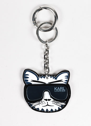 Karl Lagerfeld Black and White Cat Mirror Sunglasses Key Chain Frontview