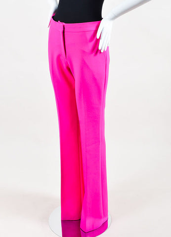 Hot Pink VICTORIA Victoria Beckham Wool Flare Leg Trouser Pants Front