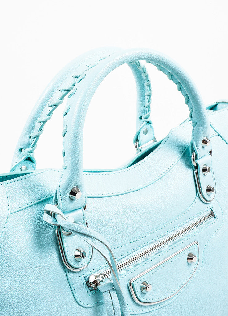 "Balenciaga Baby Blue Chevre ""Classic Metallic Edge City"" Bag Detail 2"