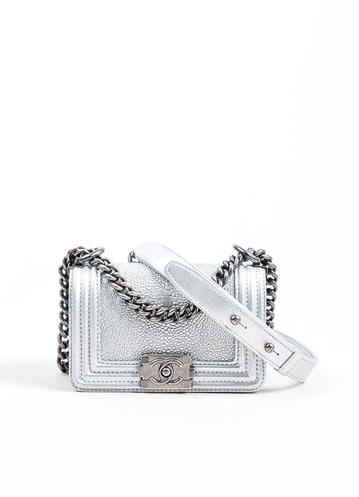 Silver Metallic Chanel Stingray and Calfskin Leather 'CC' Pushlock Mini Boy Bag Frontview