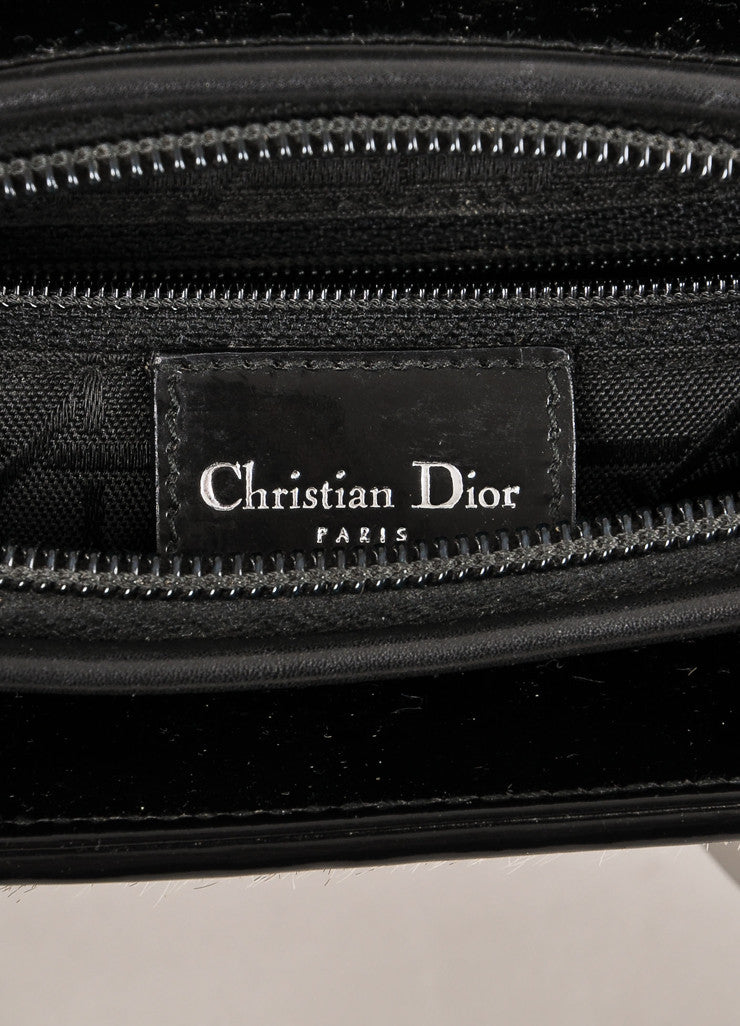 "Christian Dior Black and White Zebra Pony Hair and Leather ""Lady"" Top Handle Tote Bag Brand"