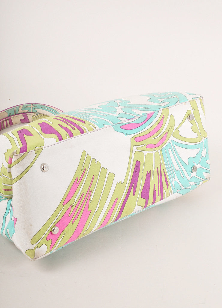 Emilio Pucci Cream and Multicolor Abstract Print Canvas and Leather Tote Bag Bottom View