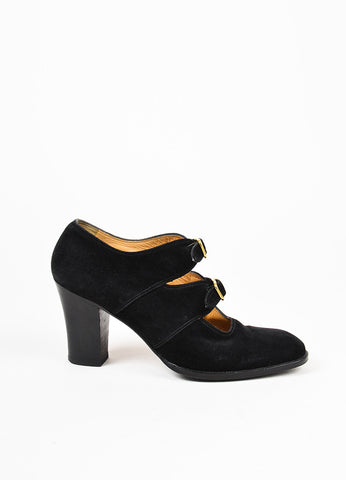 Hermes Black Suede Round Toe Buckle Chunky Heel Pumps Sideview