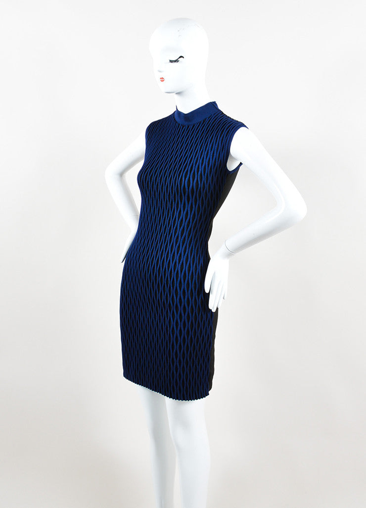 Black and Blue Balenciaga Textured Wave Fitted Turtleneck Sleeveless Dress Sideview