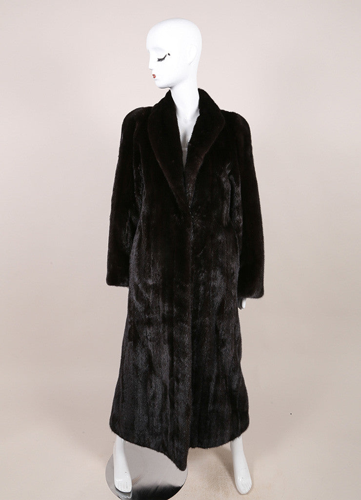 Blackglama Dark Brown Mink Long Sleeve Full Length Coat Frontview