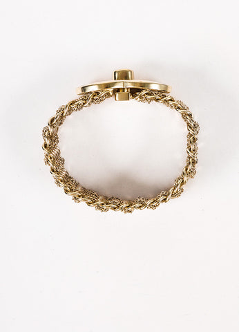Chanel Gold Toned Multistrand 'CC' Turn Lock Bracelet Topview