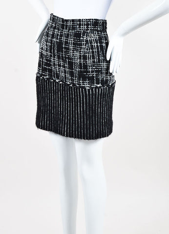 Chanel Black and Grey Wool and Silk Tweed Striped Short Pencil Skirt  Sideview