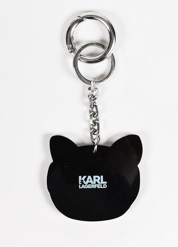 Karl Lagerfeld Black and White Cat Mirror Sunglasses Key Chain Backview