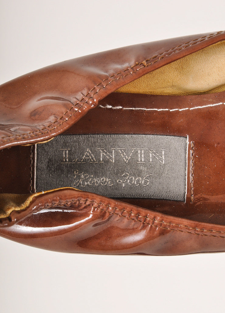 Lanvin Brown Patent Leather Elastic Trim Ballet Flats Brand