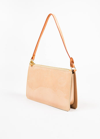 "Louis Vuitton Beige Vernis Monogram ""Lexington"" Pochette Bag angle"