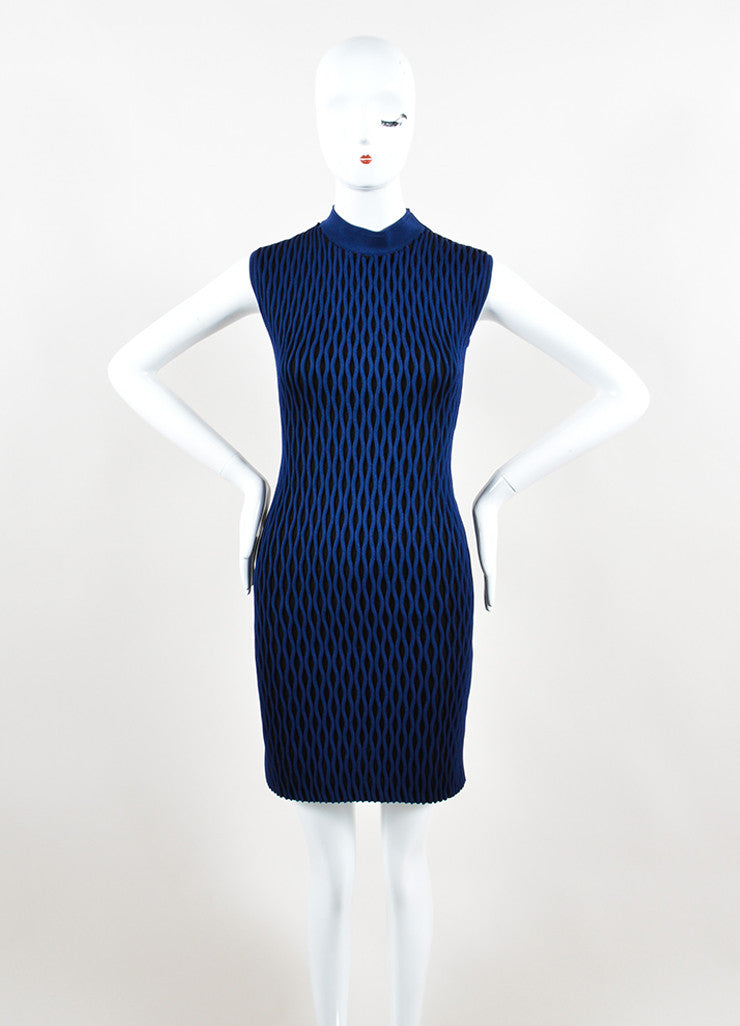 Black and Blue Balenciaga Textured Wave Fitted Turtleneck Sleeveless Dress Frontview