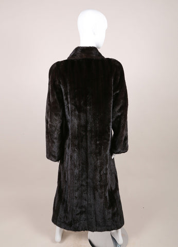 Blackglama  Dark Brown Mink Long Sleeve Full Length Coat Backview