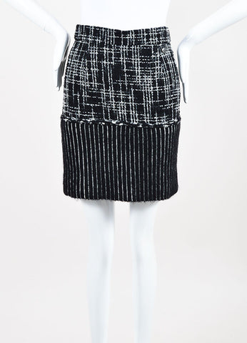 Chanel Black and Grey Wool and Silk Tweed Striped Short Pencil Skirt Frontview