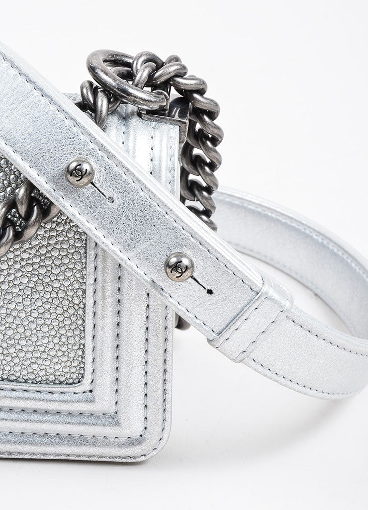 Silver Metallic Chanel Stingray and Calfskin Leather 'CC' Pushlock Mini Boy Bag Detail 3