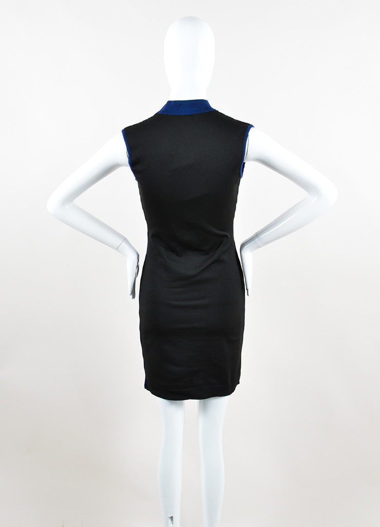 Black and Blue Balenciaga Textured Wave Fitted Turtleneck Sleeveless Dress Backview