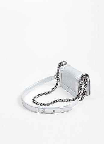 Silver Metallic Chanel Stingray and Calfskin Leather 'CC' Pushlock Mini Boy Bag Sideview