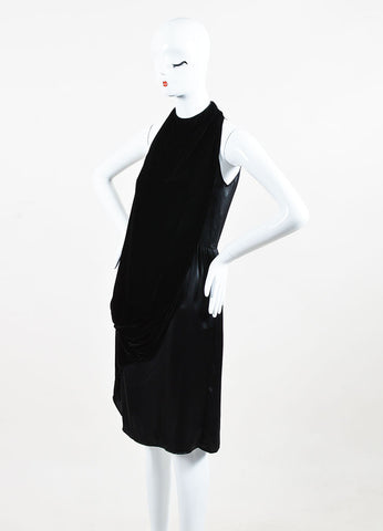 Gary Graham Black Silk Velvet Layered Drape High Neck Sleeveless Dress Side