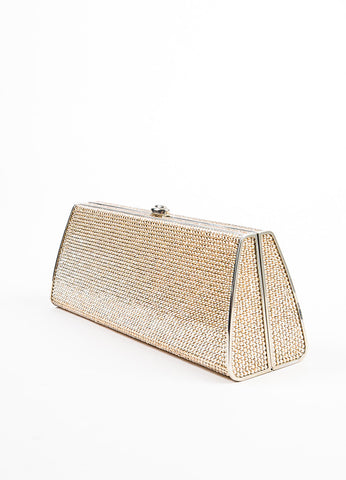 Judith Leiber Silver Toned and Champagne Swarovski Crystal Box Clutch Sideview