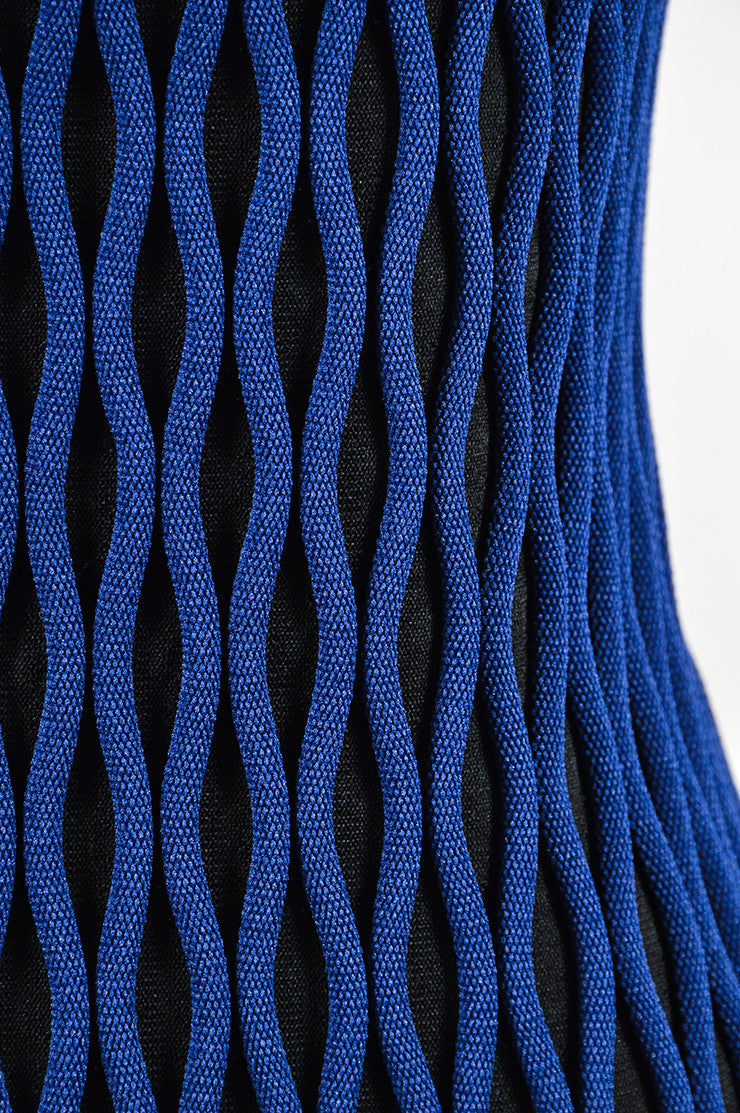 Black and Blue Balenciaga Textured Wave Fitted Turtleneck Sleeveless Dress Detail