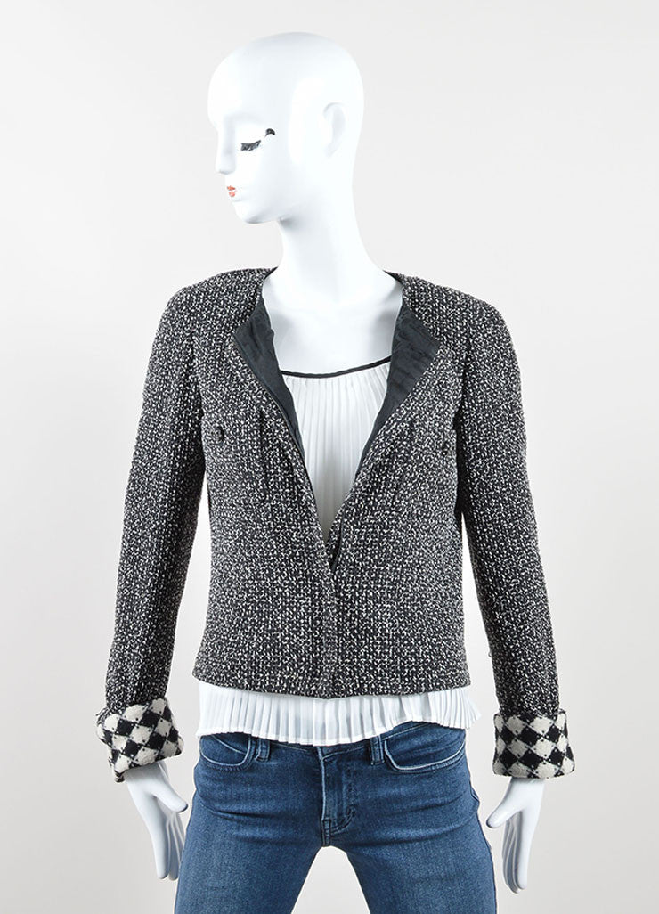 Chanel Black and White Silk and Woven Tweed Printed Jacket Frontview