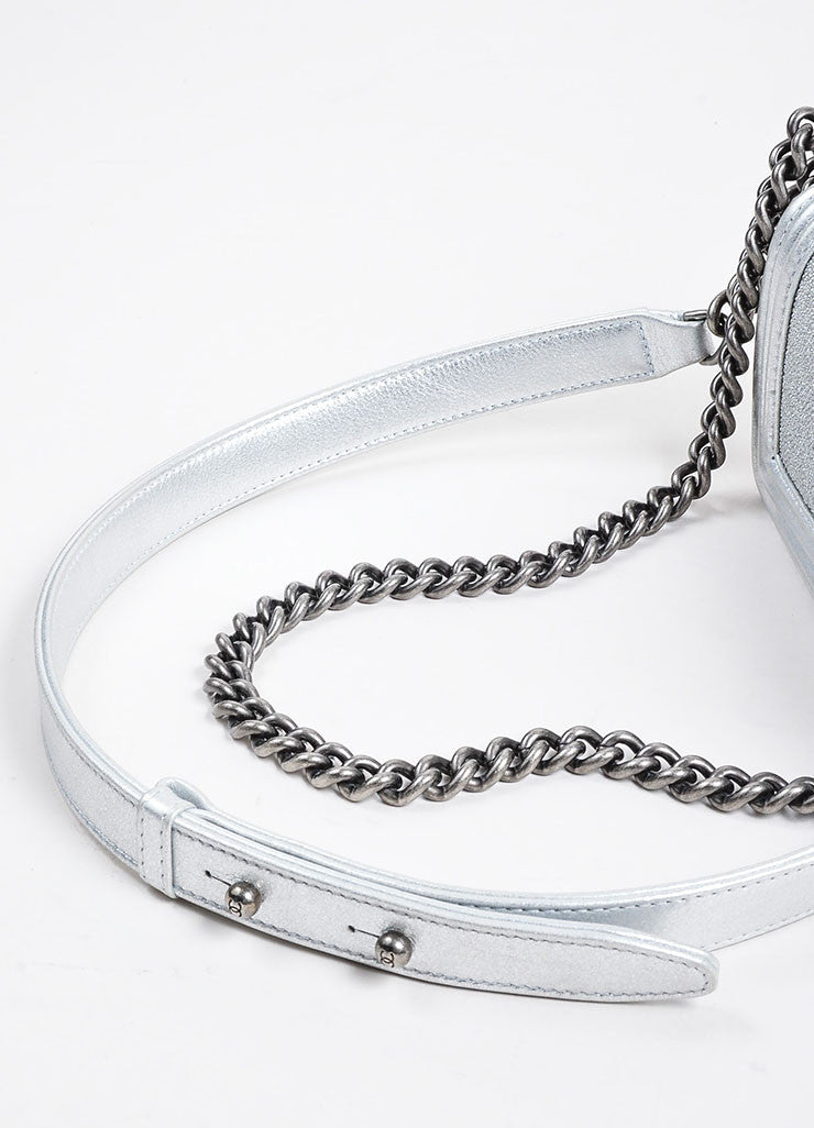 Silver Metallic Chanel Stingray and Calfskin Leather 'CC' Pushlock Mini Boy Bag Detail 2